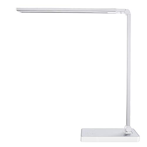 Phive dimmable led desk lamp with fast charging usb port, touch control, 8-level dimmer / 4 lighting modes, aluminum body, eye-care led, table lamp for bedroom/reading/study (silver)