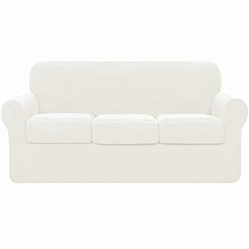 subrtex 3 Plazas Funda de Sofá de con 3 Cojines de Asiento Separados de Alta Elasticidad para Sillón Protector de Muebles Lavables(3 Plazas, Cream)