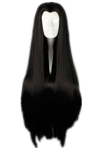etruke longue ligne droite Lolita noir Veuve de Peak fille de Cosplay Perruques