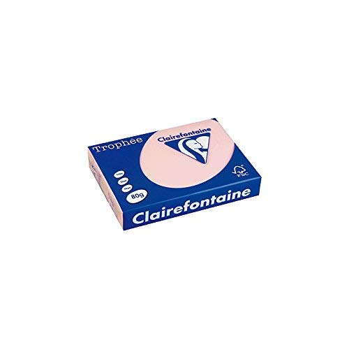 Clairefontaine 1973C Druckerpapier Trophée, für alle Laserdrucker, Kopierer und Tintenstrahldrucker, DIN A4 (21 x 29,7 cm), 80g, 1 Ries mit 500 Blatt, Pastellrosa