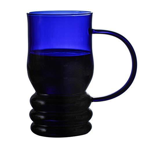 WxberG Juego de 2 tazas de café de cristal transparente de 380 ml con asas, perfectas para café con leche, capuchino, espresso, té y bebidas calientes, color azul