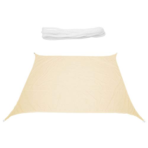 Sun Sail Shade Square Waterproof UPF40+ Outdoor UV Protection Summer Cool Party Beach Leisure Awning Canopy For Garden With 4 Tie Ropes(Beige yellow 2x2m)