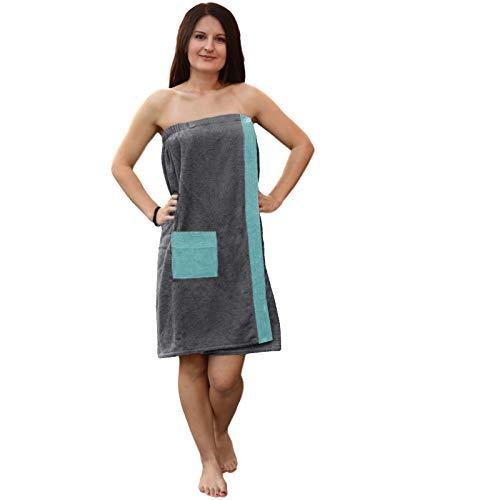 JEMIDI Toalla para sauna (100% algodón, para mujer, color gris/menta)