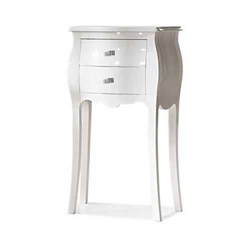 Meuble de Rangement Polyvalent, Style Classique, en Bois Massif et MDF avec Finition laqué Blanc Brillant - Dim. 50 x 30 x 85