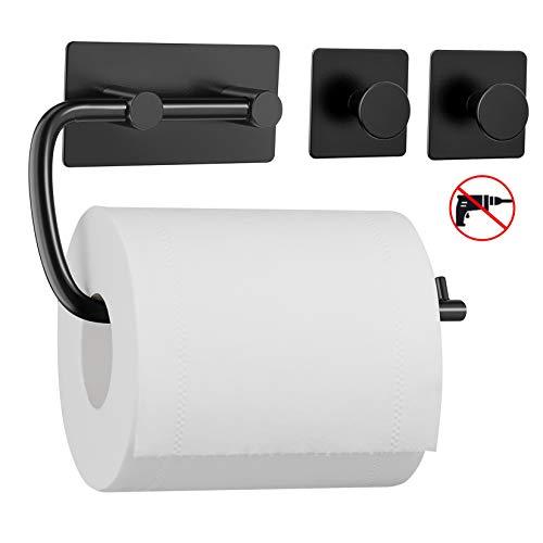 Umi. by Amazon - Toilettenpapierhalter mit zwei Haken ohne Bohren, Handtuchhalter Kleiderhaken aus 304 Edelstahl, selbstklebend mit Kleber, Badzubehör Set aus 3 Stücken -Schwarz