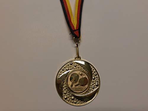 Fanshop Lünen 20 Stück Medaillen - aus Metall 50mm - mit Einem Emblem, Tischtennis - TT - inkl. Medaillen Band - Farbe: Gold - Alu Emblem 25mm - (e219) -