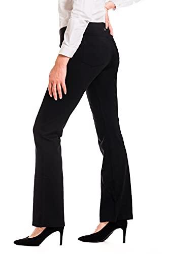 Yogipace,5 Pockets,Women's Bootcut Yoga Pants Long Dress Pants Workout Bootleg Pants Travel Commute Work, 31', Black,Size L