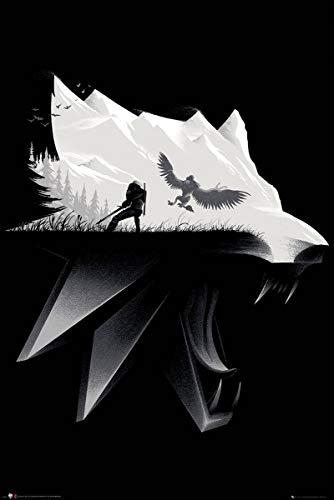 GB eye Poster Thw Witcher, Negro y Blanco, 91x61cm
