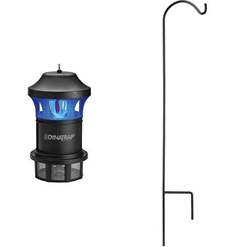 DynaTrap DT1775 1 Acre XL Mosquito and Insect Trap with AtraktaGlo Light - Black & 010 Adjustable Shepherd's Hook for Outdoor Insect Traps Mosquito Repellent, 49 Inches, Black