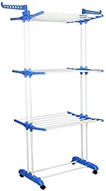 WayMore Homewares Advance Series Grandis Plus 2 Poll, 3 Layer Cloth Drying Stand with Braking Wheel System