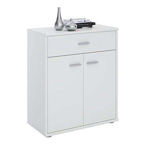 CARO-Möbel Kommode Sideboard Schrank Tommy weiß, Anrichte mit 1 Schublade und 2 Türen