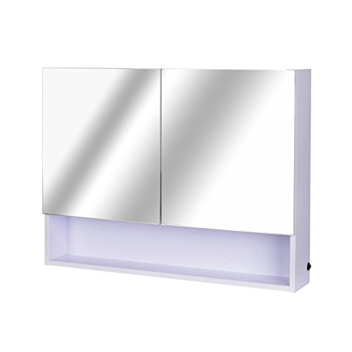 HOMCOM LED Spiegelschrank Lichtspiegel Badspiegel Badschrank Badezimmerspiegel Wandspiegel 15W (Modell 4)