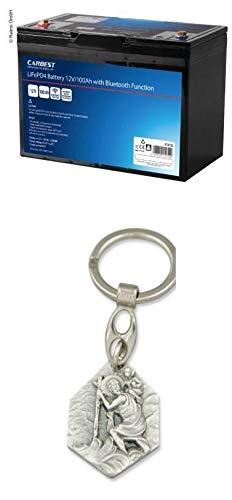 Zisa-Kombi Lithium-Eisen-Phosphat Batterie (LiFePO4), 100 Ah, Carbest, mit Bluetooth, Akku mit Anhänger Hlg. Christophorus