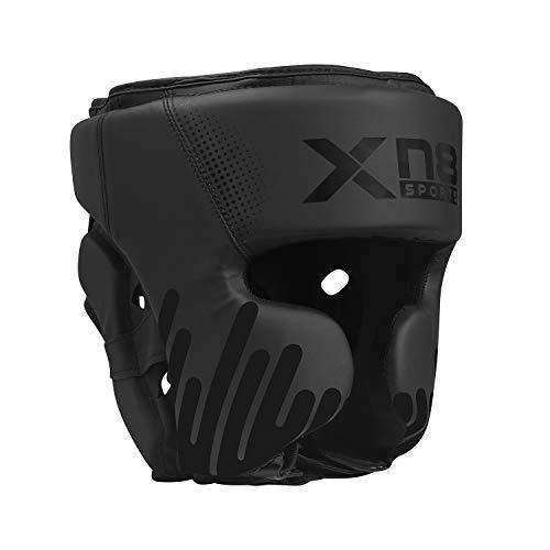 XN8 Boxen Kopfschutz MMA Gesichtsschutz Boxhelm Muay Thai für Kampfsport-Boxtraining-Kickboxen-Sparring-Taekwondo (Schwarz, M)