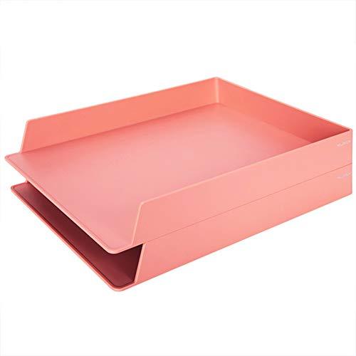 WJYLM Archiviazione di File, Vaschetta portacorrispondenza, Vaschette Portadocumenti per Ufficio,A4, Colori Assortiti,plastica,Confezione da 2,Rosa