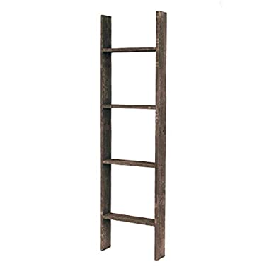 BarnwoodUSA Rustic Farmhouse Blanket Ladder - Our 4 ft Ladder can be Mounted Horizontally Vertically is Crafted from 100% Recycled Reclaimed Wood | No Assembly Required | Brown