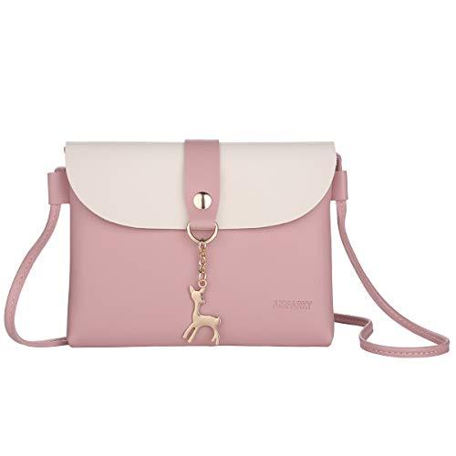 Lanling Kleine Crossbody Geldbörse für Damen,Leder Umhängetasche Hirsch Crossbody Frauen Handtasche kleine Geldbörse Telefon Tasche für Mädchen (Rosa)