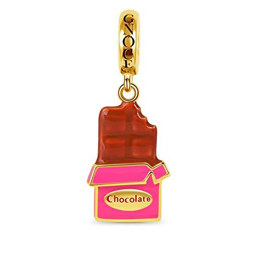 GNOCE Schokolade Charm Anhänger 925 Sterling Silber mit Gold Plate Fit Armband/Halskette Charm Modeschmuck Geschenk für Frauen Mädchen (Schokolade)