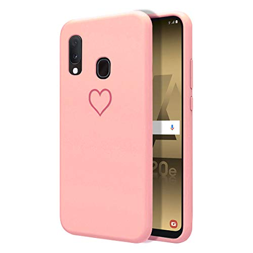 ZhuoFan Samsung Galaxy A20e Case, Phone Cases Pink Liquid Silicone with Pattern Shockproof Soft Flexible Gel TPU Rubber Back Cover Bumper Skin for Samsung GalaxyA20e 2019 Smartphone, Pink Love