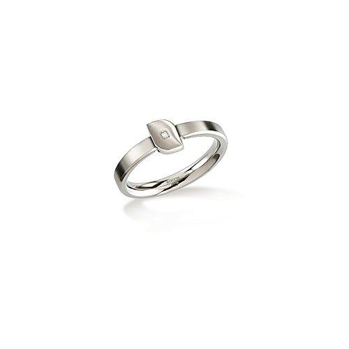 Boccia Damen-Ring Titan mattiert Diamant (0.005 ct) weiß Brillantschliff Gr. 54 (17.2) - 0141-0254