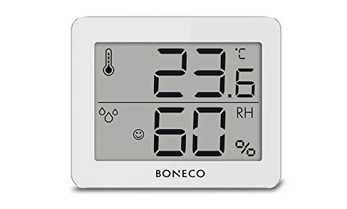 BONECO Thermo-Hygrometer X200- digitale Anzeige der Raumtemperatur und relativen Luftfeuchtigkeit- 0 bis 50 ˚C, weiß