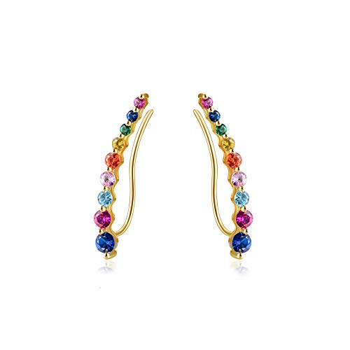 E 925 Sterling Silver Bling Ear Crawler Earrings for Women, 14K Gold Plated Hypoallergenic Women Ear Cuffs with Rainbow Cubic Zirconia