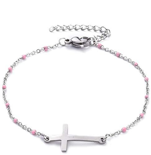 Milosa Pulsera de cruz para mujer, pulsera de acero inoxidable, pulsera de cadena, pulsera religiosa, regalo de la amistad