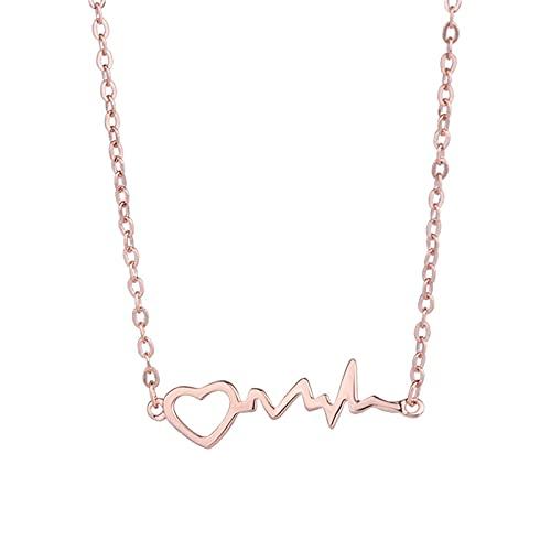 YNING Collar de Electrocardiograma de Plata Esterlina S999 /Cadena de Clavícula de Nicho/Colgante de Amor Extravagante y Ligero Simple/Longitud de Cadena Ajustable