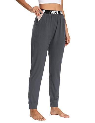 ZJCT Womens Yoga Sweatpants Workout Active Joggers Pants Comfy Casual Dressy Elastic Waist Lounge Pants with Pockets Dark Gray XL