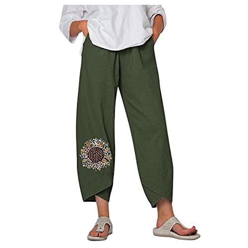 KAIXLIONLY - Pantalón corto para mujer, con estampado Sarouel y pantalones cortos para verano, cómodos, pantalones cortos de verano y pantalones cortos, talla grande Green 2. S