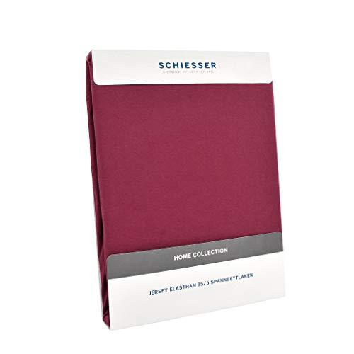 Schiesser Premium Spannbettlaken Jersey-Elasthan, 95% Gekämmte Baumwolle, 5% Elasthan, Wasserbett- / Boxspringbettgeeignet, Farbe:Bordeaux, Größe:180 cm x 200 cm