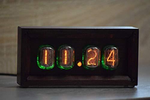 AstronimasClock-Frame IN-14//IN-8 Retro Vintage Nixie Tube Clock Handmade Red Oak