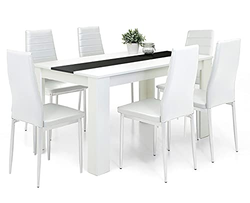 Dining Table And Chairs Set 6 White Pu Leather Foam Ribbed High Back Padded Chair With 16mm Thick Table Top 140x80cm Long White Wooden Dining Table Modern Design Dining Room Set Home Kitchen Furniture