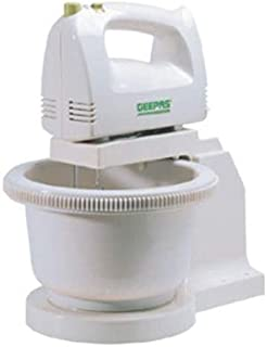 Geepas Ghb2002 Hand Mixer With Stand Bowl & Overheat Protection  (white)
