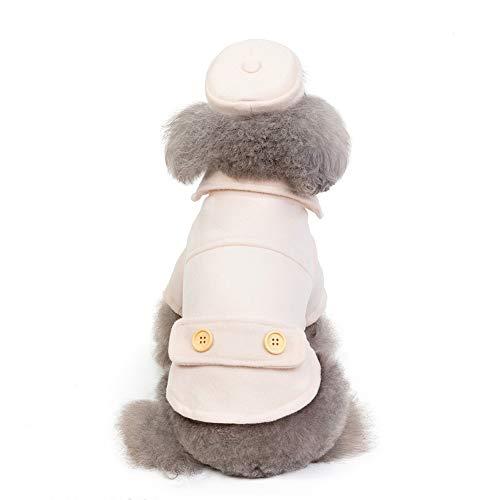 XMCWZJ huisdier hond kleding herfst en winter kleding hond wollen mantel met capuchon verdikte pet stewardess flightless mantel