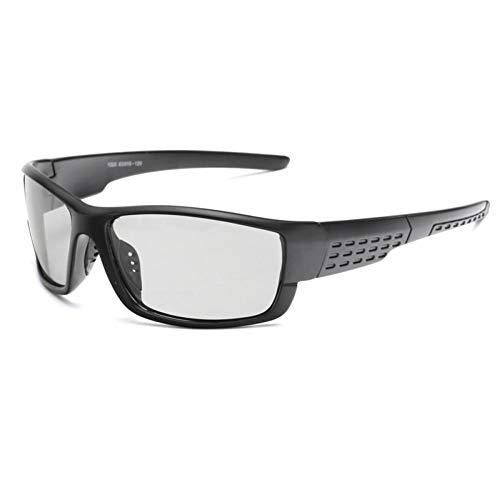 SHENY Gafas De Sol Fotocrómicas Polarizadas Cuadradas Hombres Gafas De Camaleón De Conducción Gafas De Conductor De Visión Nocturna De Día Masculino Negro Mate