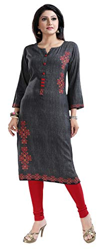 Unifiedclothes SC2487 Kurti-Tunika, Damen, modisch, weiß, bedruckt, indisch, digital Gr. 48, mehrfarbig