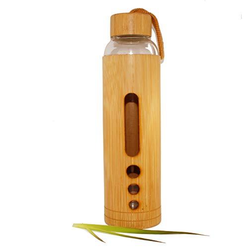 Biscay Home - Botella de agua, té de bambú y cristal, 900 ml, perfecta para regalo, casa, viaje, camping, botella de madera ecológica