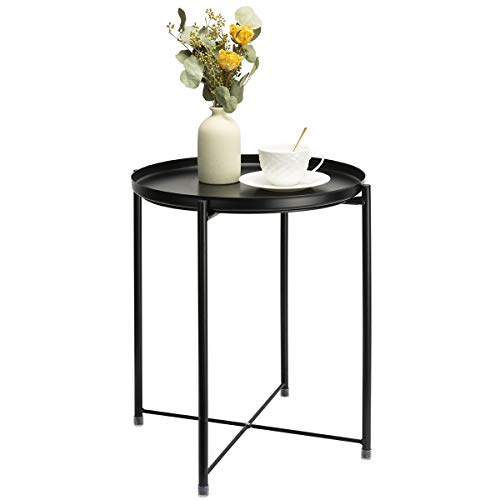 Danpinera Side Table Round Metal, Outdoor Side Table Small Sofa End Table