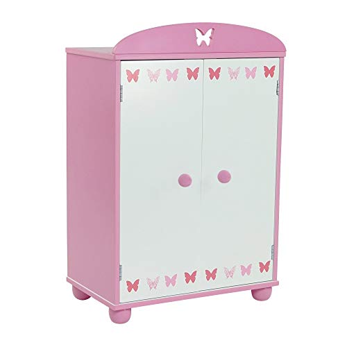Emily Rose 18 Inch Doll Furniture for American Girl Dolls | Doll Closet Armoire with Butterfly Detail, Includes 5 Wooden Doll Clothes Hangers | Fits 18' American Girl Doll Clothes