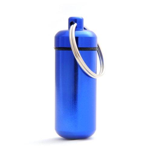 Capsule étanche pour conserver des petits objets (billets, clés usb), pilulier, capsule en porte-clé avec un capuchon dévissable et un joint en caoutchouc, hauteur: 45mm, matériau: aluminium, couleur: bleu, de la marque Ganzoo