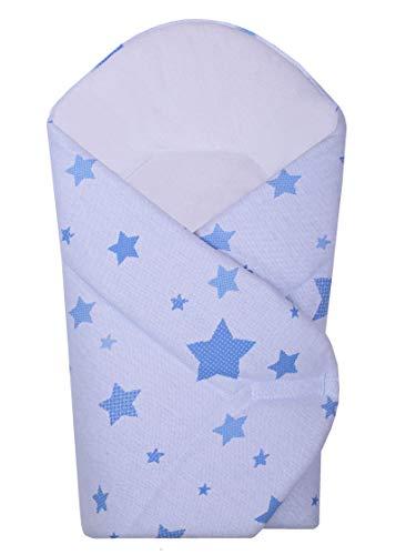 BlueberryShop Gebreide sterren katoenen baby Swaddle Wrap beddengoed deken | Slaapzak voor pasgeborenen | Bestemd voor kinderen leeftijd 0-3 maanden | Perfect als een baby douche Gift | 80 x 75 cm 80 x 75 cm Blauw