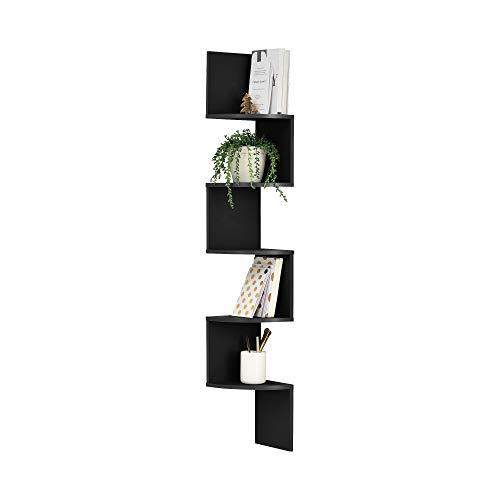 en.casa Estantería de Pared estilosa Negro Mate diseño Ret