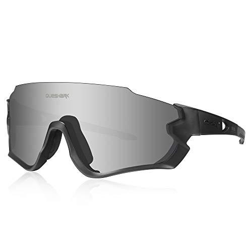 Queshark Gafas de Ciclismo para Hombre Mujer Bicicleta de Carretera 1 Lente Polarizada 3 HD UV400 Lente QE45 (Negro)