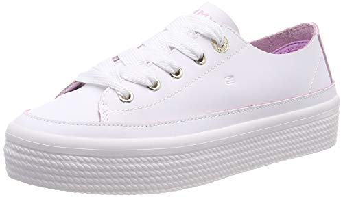 Tommy Hilfiger Damen Leather Flatform Sneaker, Weiß (White 100), 40 EU