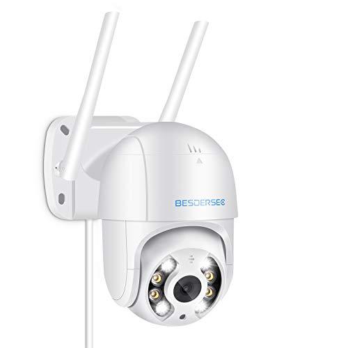 Camara WiFi Exterior Motorizada, Cameras de Vigilancia WiFi 1080P HD, Camera WiFi Impermeable IP66 con Audio de Dos Vías,Visión Nocturna 50M en Color Detección de Movimiento Monitorización Inteligente