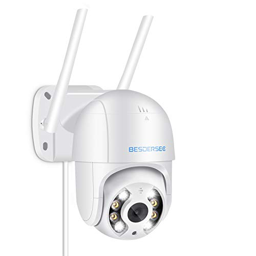 5MP Cámara WiFi Exterior, Camara WiFi Exterior/Interior Motorizada, Camera WiFi Impermeable IP66 con Audio de Dos Vías, Visión Nocturna 50M en Color Detección de Movimiento Monitorización Inteligente