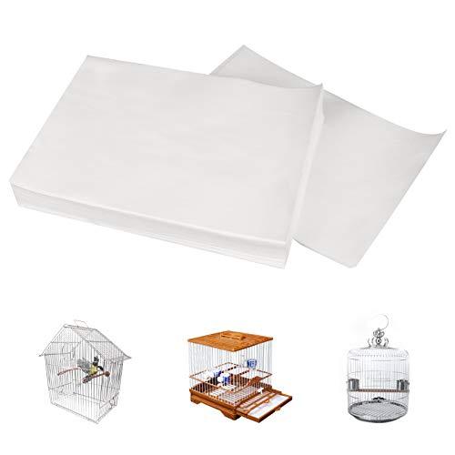 LINGSFIRE Papeles desechables para jaulas de pájaros, 100 hojas de papel de lija superabsorbente para jaulas de pájaros, accesorios para jaulas de hojas de arena para pájaros y loros, 27 x 20 cm