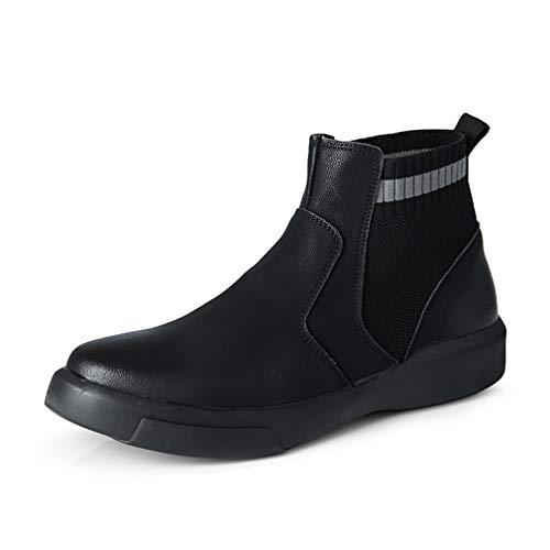 Cuero Zapatos Hombre Botines Chelsea Cuero Parte Superior Ligeras Cómodos Casual Conducción Botas para Trabajos Caminar Aire Libre Negro EU 47