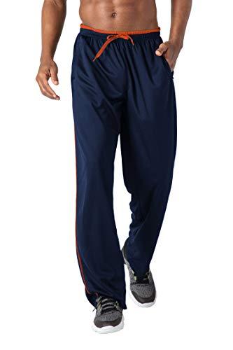KEFITEVD Jogginghose Herren Extra Lang mit Zip-Taschen Fitnesshose Yoga Training Bekleidung Trainingshose Atmungsaktiv Meshgewebe Laufhose Männer Dunkelblau-Orange L